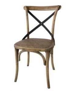 """Noosa"" Oak Hardwood Timber Cross Back Dining Chair Metal Strap Rattan Oak, 50cm x 48cm x 88cmH"