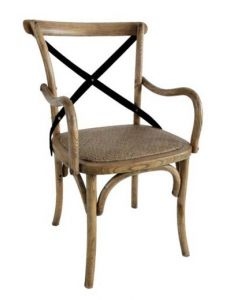 """Noosa"" Oak Cross Back Timber Carver Dining Chair Natural Oak with Metal Strap, 50cmW x 48cmD x 88cmH"