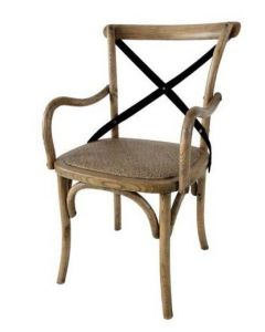 """""""Noosa"""" Oak Cross Back Timber Carver Dining Chair Natural Oak with Metal Strap, 50cmW x 48cmD x 88cmH"""