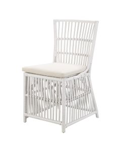 """""""Villa"""" Hamptons Style Rattan Cane Dining Side Chair White with Cushion, 50cmL x 56cmD x 90cmH"""