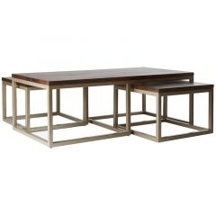 """Manhattan"" Solid Hardwood Natural Distress Set of 3 Coffee Tables,  120x60cm"
