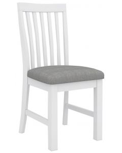 """Cove"" Hamptons Style Chair Brushed White with Cushioned Seat W46 x D57x H99CM"