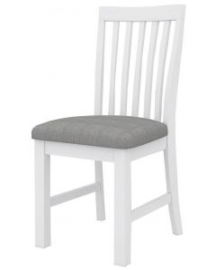 """""""Cove"""" Hamptons Style Chair Brushed White with Cushioned Fabric Seat, 46cmW x 57cmD x 99cmH"""
