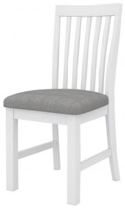 """""""Cove"""" Hamptons Style Dining Chair with Grey Cushioned Seat, Brushed White"""