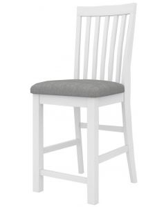 """""""Cove"""" Hamptons Style Kitchen Bench Bar Chair Brushed White with Cushioned Seat W46 x D57x H110CM"""