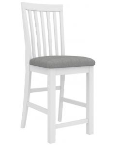 """Cove"" Hamptons Style Kitchen Bench Bar Chair Brushed White with Cushioned Seat W46 x D57x H110CM"