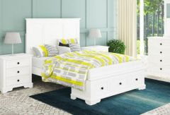 """Sophia"" Hamptons Style Hardwood Timber Queen Bed, Dresser, Mirror & Bedsides Package White"