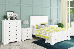 """Sophia"" Hamptons Style Hardwood Timber Queen Bed, Tallboy & Bedsides Package White"