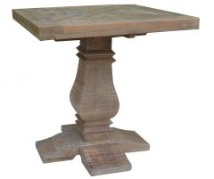 """Tuscany"" Solid Timber 55cm Square Parquetry Top Lamp Side Table with Pedestal Base"