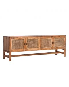 """Bahamas"" Hampton Style Timber 4 Door TV Unit in Light Tobacco, 160cmW X 40cmD x H55cmH"