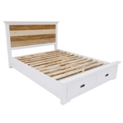 """""""Bayview"""" Solid Timber Coastal Style Two Tone with Brushed White Bed Frame with Storage Drawers - AVAILABLE IN KING OR QUEEN SIZE"""