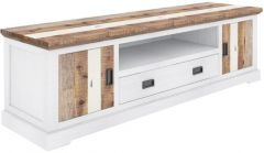 """""""Bayview"""" Solid Hardwood Mulit Coloured Large TV Entertainment Unit with 1 Drawer, 2 Doors & 1 Niche, 214x50xH60cm"""