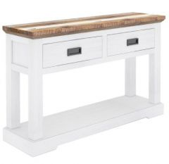"""""""Bayview"""" Solid Hardwood Multi 2 Drawer Hall Table Console, 125x38cm"""