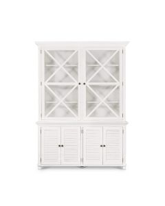 """Plantation"" Hamptons Style Large Glass Door Cabinet in White 170cmL x 50cmW x 230cmH"