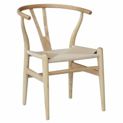 """""""Wishbone"""" Replica Modern Timber Chair with Rattan Seat in Natural"""