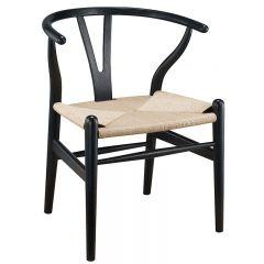 """Wishbone"" Replica Modern Timber Chair with Rattan Seat in Black"
