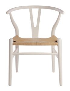 """""""Wishbone"""" Replica Modern Timber Chair with Rattan Seat in White"""