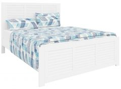 """""""Whitehaven"""" Hampton Style Solid Timber Queen Frame Bed in White"""