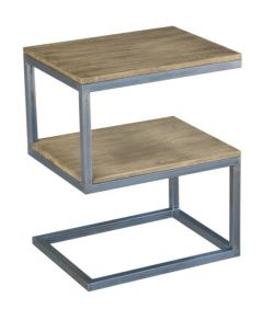 """Manhattan"" Solid Hardwood & Metal Side Table ""S"""