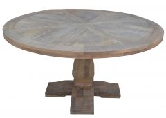 """Tuscany"" Hampton Style Solid Timber Parquetry Round Dining Table with Pedestal Base Whitewash, 135cm"