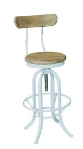 """""""Industrial"""" White Metal and Timber Adjustable Barstool Kitchen Counter Stool with Back"""