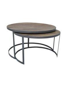 """Toulouse"" Nest of 2 Solid Hardwood Timer & Metal Round Coffee Table French Grey 80cm DIA"