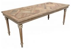 """Marrakesh"" Parquetry Dining Table with turned legs Recycled Elm, 150cmL x 85cmD"