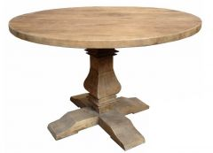 """Madrid"" Round Recycled Elm Dining Table with Pedestal Base 120cm"