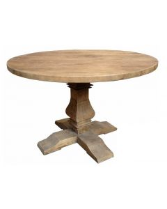 """Madrid"" Round Recycled Elm Dining Table with Pedestal Base 150cm"