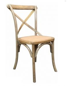 """Noosaville"" Hamptons Timber Dining Chair Cross Back Natural Oak, 50cmL x 48cmD x 88cmH"