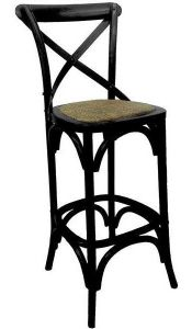 """Noosaville"" Timber Rattan Kitchen Bench Bar Chair Cross Back Black, 45cmL x 47cmD x 101cmH"