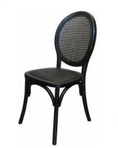 """Seychelles"" Plantation Style Cane Weave Rattan Dining Chair Black, 44cm x 55cm x 95cmH"