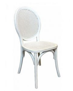 """Seychelles"" Plantation Style Cane Weave Rattan Dining Chair White, 44cm x 55cm x 95cmH"