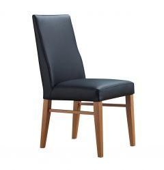 """Lucas"" 100% Genuine Cow Hide Leather Dining Chair Tasmanian Oak Leg in Black"