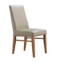 """""""Lucas"""" 100% Genuine Cow Hide Leather Dining Chair Tasmanian Oak Legs in Light Mocha"""