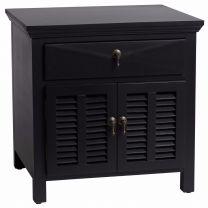 """Alton"" Hampton Style Bedside Lamp Table in Black, 60W X 50D X 60H CM"