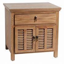 """Alton"" Hamptons Style Bedside Table in Elm Louvre Doors, 60W X 50D X 60H"