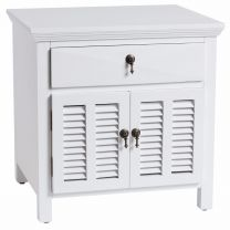 """Alton"" Hampton Style Bedside Table in White with 1 Drawer, 60W X 50D X 60H"