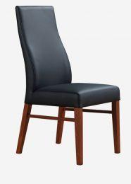 """Iris"" Black 100% Genuine Cow Hide Leather Dining Chair in Wheat or Blackwood Legs"