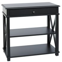 """Carlton"" Large Bedside Table in Black with 1 Drawer and 2 Shelves"