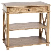 """Carlton"" Large Bedside Table in Elm with 1 Drawer and 2 Shelves"