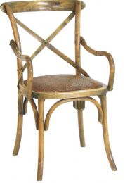 """Noosa"" Oak Hardwood Timber Cross Back Arms Carver Chair Rattan Seat Antique Natural"