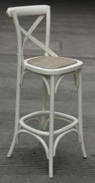"""Noosa"" Oak Hardwood Timber Cross Back Bar Stool 76cm SEAT HEIGHT Antique White"
