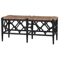 """Chinois"" Hampton Style Black 107cm Bench with Rattan Seat"