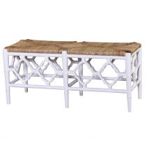 """Chinois"" Hampton Style White 107cm Bench with Rattan Seat"