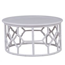 """""""Chinois"""" Hampton Style White 90cm Round Coffee Table"""