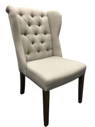 """Regency"" Linen Dining Chair Beige Antique Natural Legs"