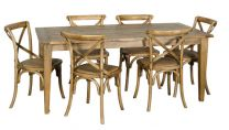 "FLOOR STOCK CLEARANCE SALE ""Noosa"" 7 Piece Oak Timber 180x90cm Dining Table Package with 6 x Cross Back Chairs"