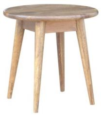 """Retro"" Hardwood Round Side Lamp Table Oak Colour 50cm"