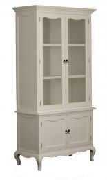 """Provence"" White French Provincial Timber & Glass Display Buffet Hutch"